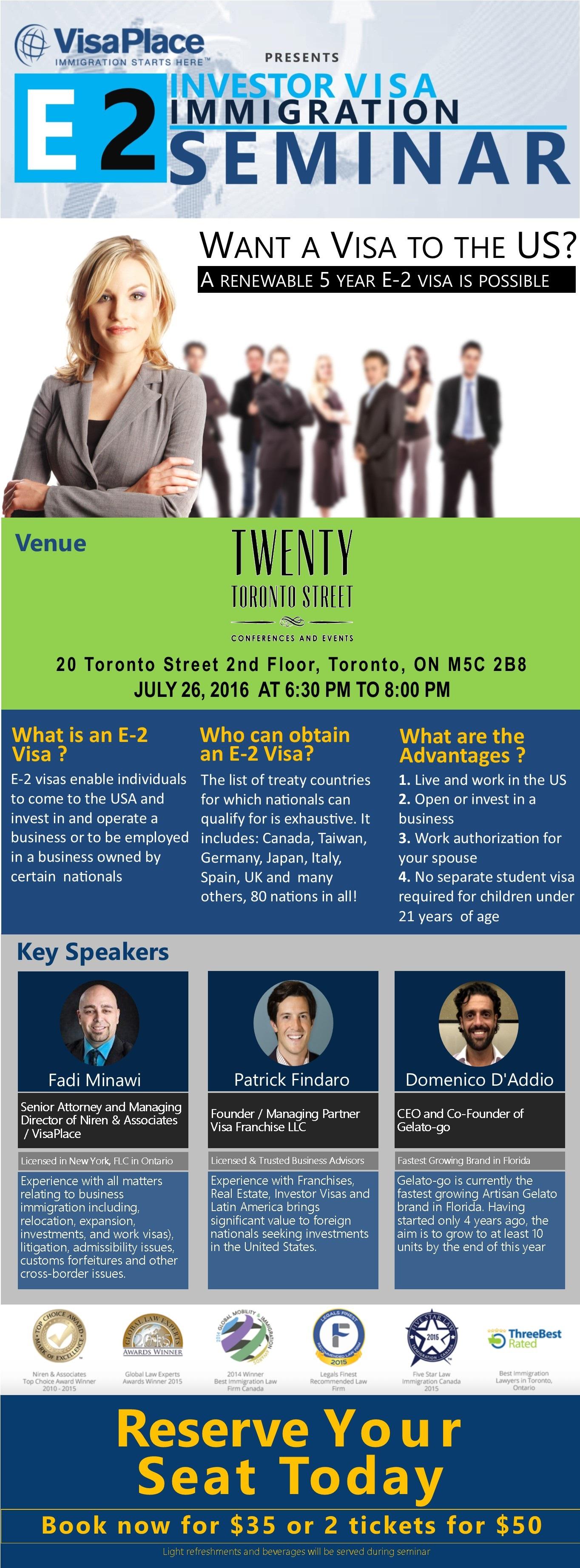 E 2 Investor Visa Seminar