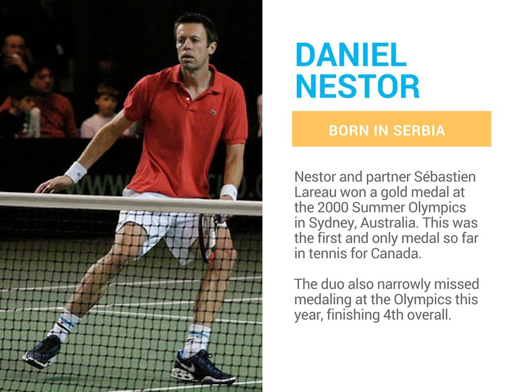 Daniel Nestor is a Canadian olympian born in Serbia.