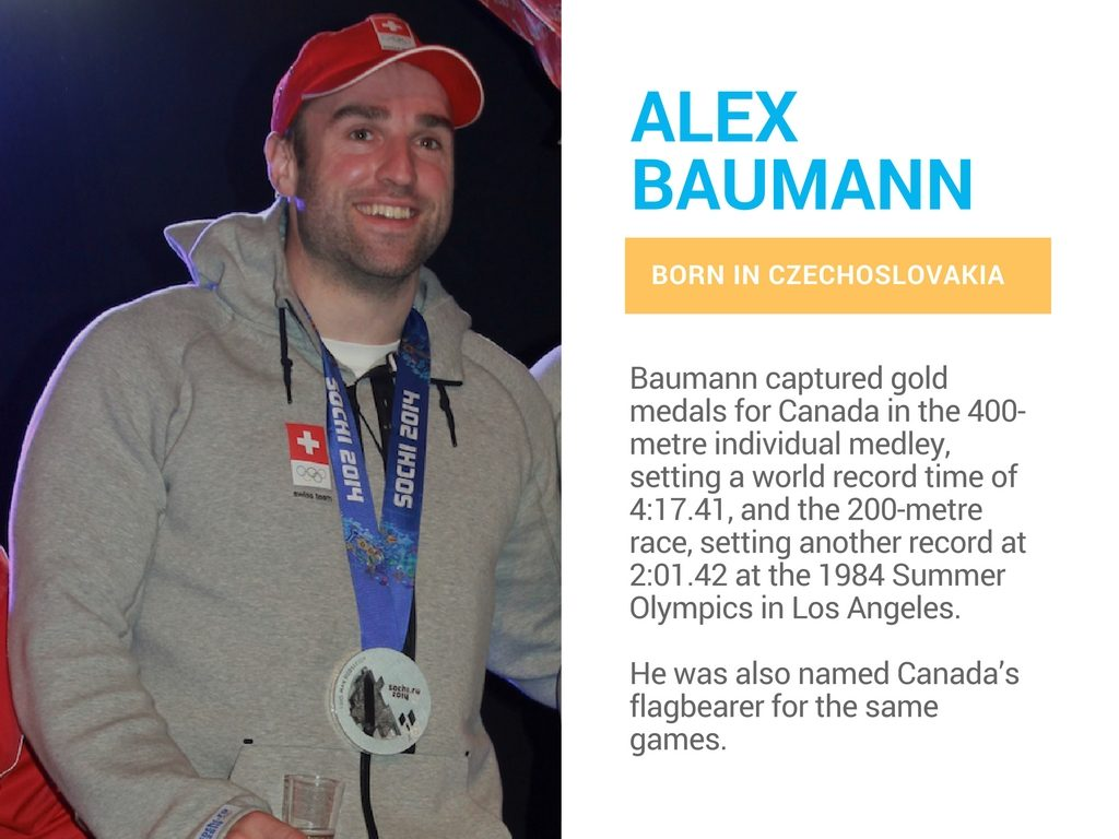 Alex Baumann is a Canadian olympian born in Czechoslovakia.