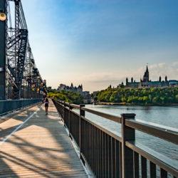 "The Royal Alexandra Interprovincial Bridge is a steel truss cantilever bridge spanning the Ottawa River between Ottawa, Ontario and Gatineau, Quebec. It is known locally as both the ""Alexandra Bridge"" and the ""Interprovincial Bridge"". https://en.wikipedia.org/wiki/Alexandra_Bridge"