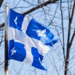 Quebec Flag flying in the wind